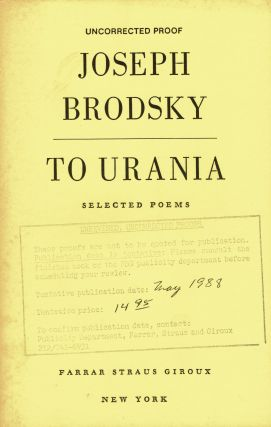 To Urania: selected poems 1965-1985. Joseph Brodsky