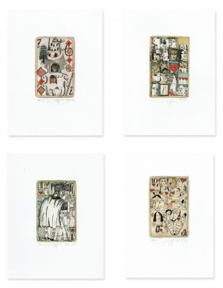 Playing Cards. Four Etchings. Yuri Nozdrin.