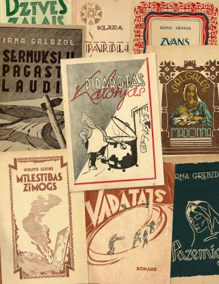 Collection of twenty-seven Latvian DP books and periodicals published in post-war Germany,...
