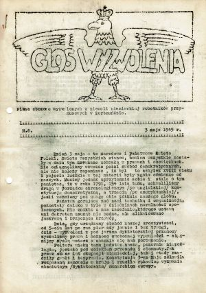 Glos Wyzwolenia: pismo obozowe wyzwolonych z niewoli niemieckiej robotnikow przymusowych w Dortmundzie [Voice of Liberation]. A run of thirty-one issues (May, 1945)